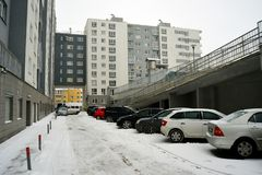 Vilnius city Pasilaiciai district new house and cars Royalty Free Stock Photo
