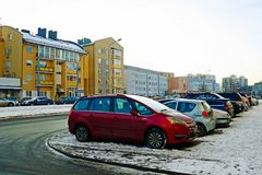 Vilnius city Pasilaiciai district at winter time Royalty Free Stock Photo