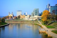 Vilnius city with river Neris autumn view Royalty Free Stock Photos