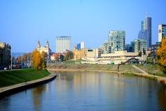 Vilnius city with river Neris autumn view Stock Image