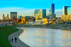 Vilnius city with river Neris autumn view Royalty Free Stock Image