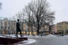 Vilnius city sculpture to Vincas Kudirka. Author of hymn Lithuanian Republic Royalty Free Stock Photo