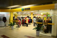 Vilnius city Seskine district Humana shop on October 17, 2014 Stock Photo