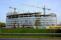 Vilnius city skyscraper construction in city center Stock Image
