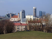 The Vilnius city skyscrapers. Vilnius city view from Tauras hill Royalty Free Stock Photo