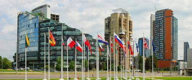 Vilnius city skyscrapers and European Union flags. Royalty Free Stock Images