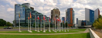 Vilnius city skyscrapers and European Union flags. Stock Photo
