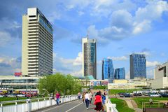 Vilnius city skyscrapers and walking bridge. Lithuania. Royalty Free Stock Image