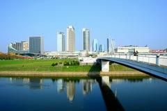 Vilnius city skyscrapers and walking bridge view Stock Images