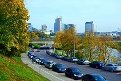 Vilnius city street, cars and skyscrapers view Royalty Free Stock Photos