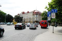 Vilnius city street and cars view on June 18, 2015 Stock Photo