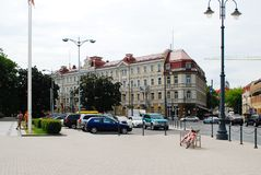 Vilnius city street and cars view on June 18, 2015 Stock Image