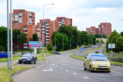Vilnius city street and houses view Stock Photo