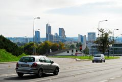 Vilnius city street view with new skyscrapers Stock Photos
