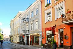 Vilnius city town old street on September 24, 2014 Royalty Free Stock Photography