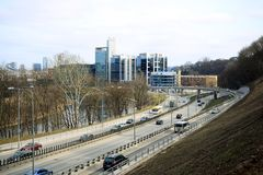 Vilnius city transport in the Gelezinis Vilkas street. VILNIUS, LITHUANIA - MARCH 13: Vilnius city transport in the Gelezinis Vilkas (Iron Wolf) street 13, 2015 Stock Photo