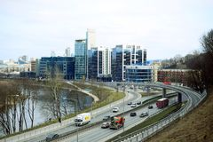 Vilnius city transport in the Gelezinis Vilkas street. VILNIUS, LITHUANIA - MARCH 13: Vilnius city transport in the Gelezinis Vilkas (Iron Wolf) street 13, 2015 Stock Photography