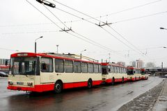 Vilnius city troleybuss in Zirmunai district Nord city Stock Photography
