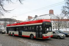Vilnius city trolley in old city district Royalty Free Stock Photo