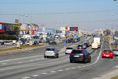Vilnius city Ukmerges street cars and traffic view Royalty Free Stock Photography