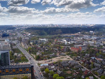 Vilnius city view. Shot from sky-scraper in Vilnius center. West direction to Justiniskes Royalty Free Stock Photography