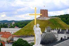 Vilnius city view from Cathedral belfry in Cathedral place Royalty Free Stock Photo