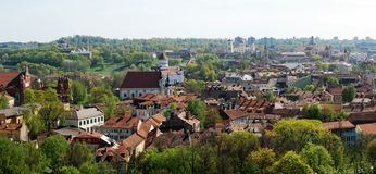 Vilnius city view from Gediminas castle. Stock Photos