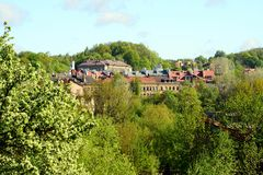 Vilnius city view from hills to the old and new city Royalty Free Stock Photos