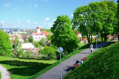 Vilnius city view from hills to the old and new city Royalty Free Stock Photography
