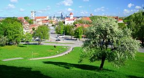 Vilnius city view from hills to the old and new city Stock Photo