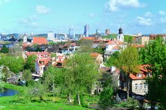 Vilnius city view from hills to the old and new city Stock Photos