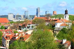 Vilnius city view from hills to the old and new city Stock Photography