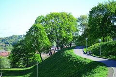 Vilnius city view from hills to the old and new city Stock Image