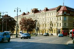 Vilnius city view near Cathedral place on spring Royalty Free Stock Photos
