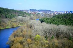 Vilnius city view from Neris river board in Lazdynai district royalty free stock photography