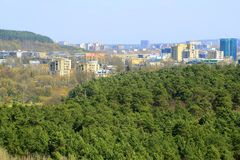 Vilnius city view from Neris river board in Lazdynai district Stock Images