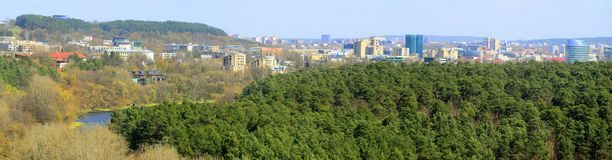 Vilnius city view from Neris river board in Lazdynai district Stock Image
