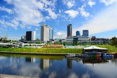 Vilnius city view from Neris river board Stock Image