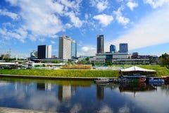 Vilnius city view from Neris river board Stock Image