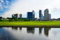 Vilnius city view from Neris river board Stock Images