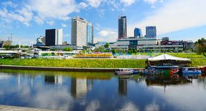 Vilnius city view from Neris river board Stock Photos