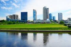 Vilnius city view from Neris river board Stock Photo