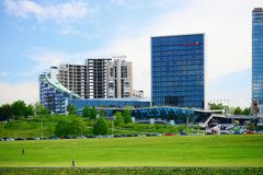 Vilnius city view from Neris river board Stock Photography