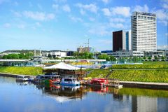 Vilnius city view from Neris river board Royalty Free Stock Photography