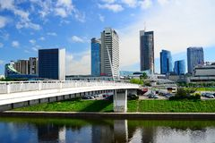 Vilnius city view from Neris river board Royalty Free Stock Photo