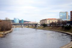 Vilnius city view with Neris river curve Royalty Free Stock Photo