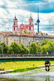 Vilnius City View with Neris river, Green Bridge, church and TV Tower royalty free stock photography