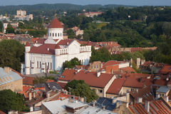 Vilnius city view with Orthodox church of Holy Mother of God Stock Image