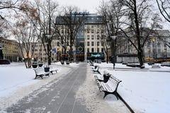 Vilnius City White Winter Morning Time Panorama Stock Image