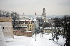 Vilnius City White Winter Morning Time Panorama Stock Photo